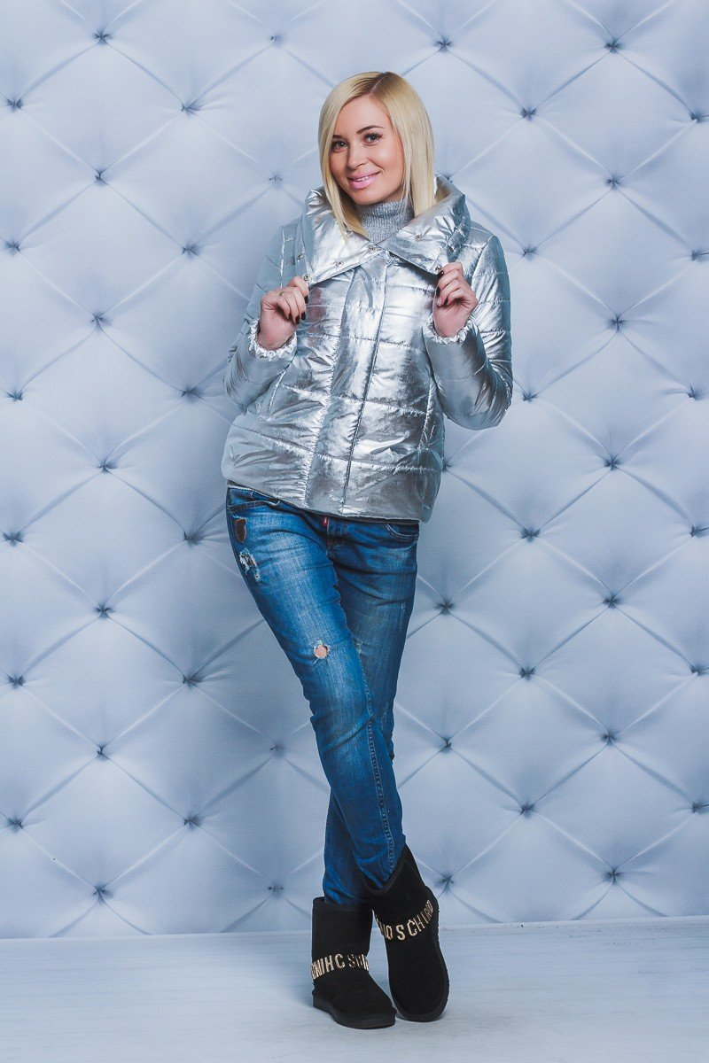 короткая куртка металлика серебро
