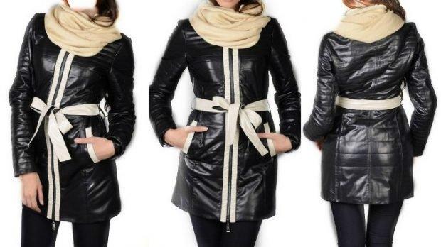 куртка синтепоновая черная с белым