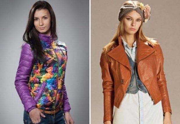молодежная куртка фиолетовая в цветы кожаная короткая