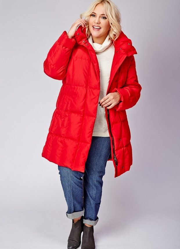 куртка финская красная длина средняя