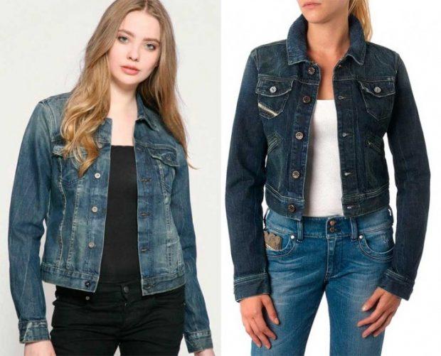 джинсовая куртка короткая синяя