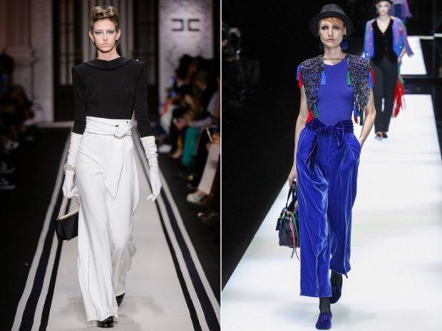 Модные женские брюки весна лето 2020: высокая талия белые клеш синие по косточку
