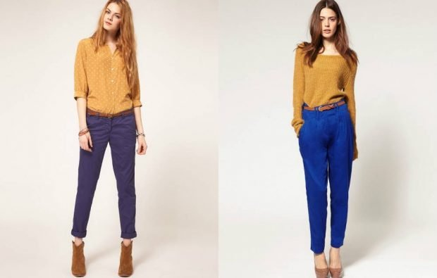 женские брюки весна лето 2020: чиносы синие