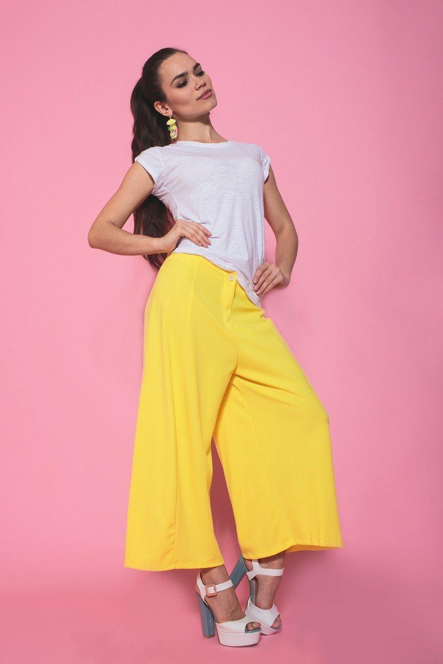 брюки бермуды желтые широкие