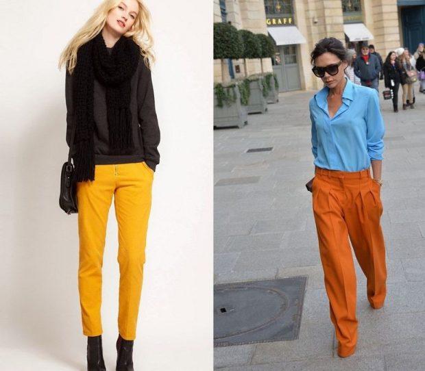 Модные женские брюки весна лето 2020: короткие желтые оранжевые клеш