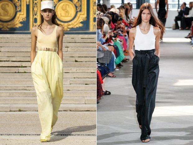 Модные женские брюки лето 2020: широкие желтые черные высокая талия