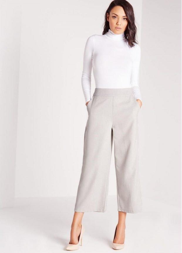 Модные женские брюки весна 2020: кюлоты серые