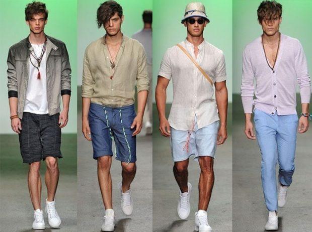 мужская мода 2019 весна лето: шорты по колено под ветровку под рубашку под белую рубашку