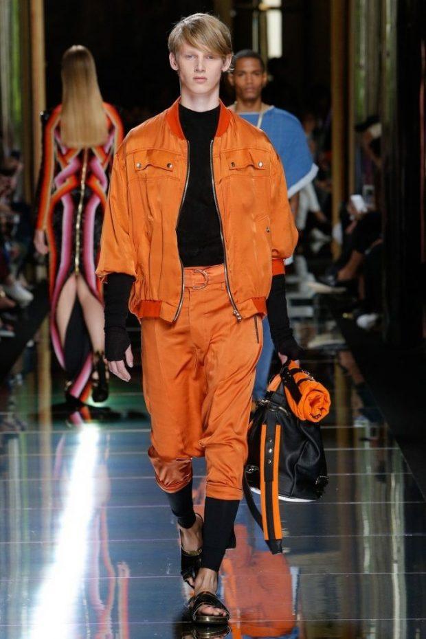 мужская мода 2021 весна лето: оранжевый спортивный костюм