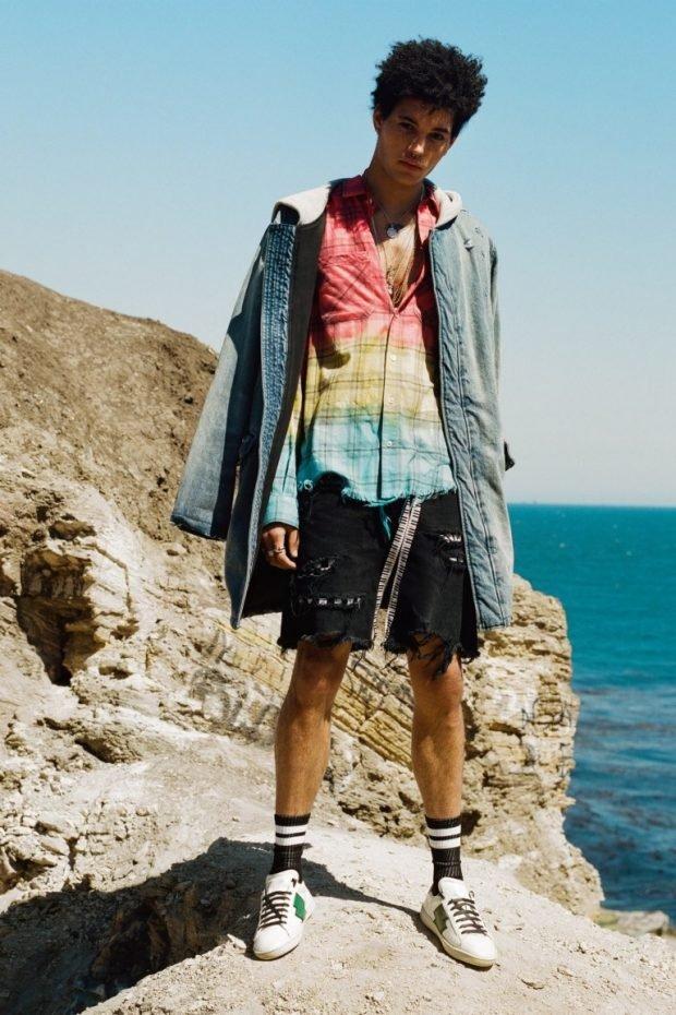 мужская мода 2019 лето: шорты цветная рубашка джинсовый плащ