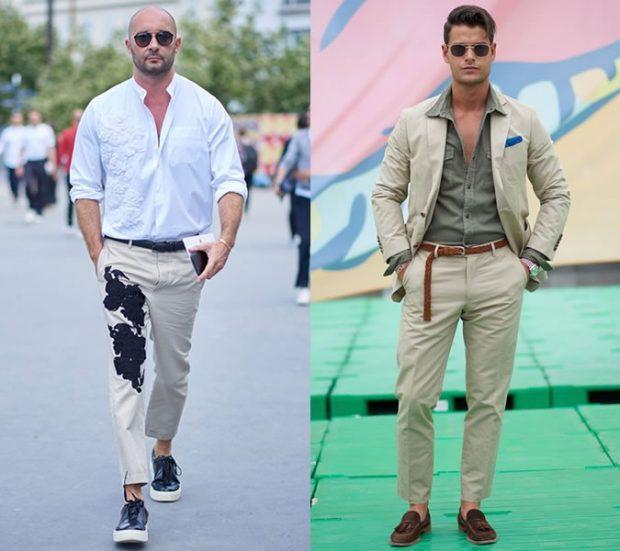 мужская мода 2019 лето: бежевые штаны с рисунком под белую рубашку бежевые штаны под рубашку