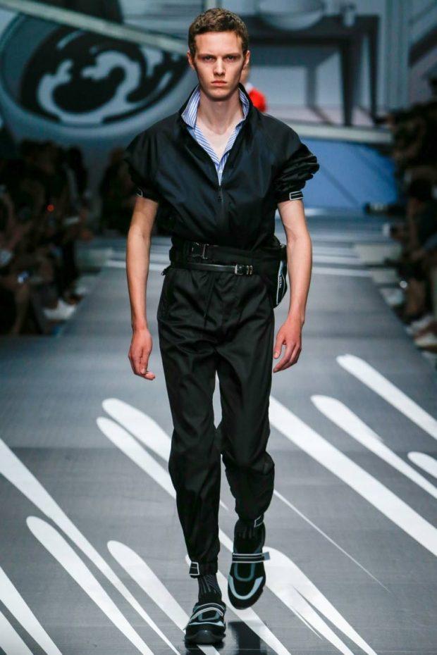 мужская мода лето 2019 основные тенденции: брюки черный рубашка с коротким рукавом