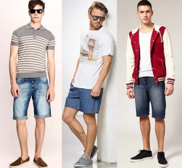 мужская мода лето 2021 основные тенденции: джинсовые шорты под футболку в полоску футболку в принт