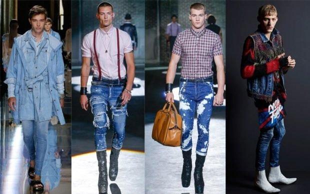мужская мода весна лето 2021 основные тенденции: джинсы под плащ голубой рубашку с коротким рукавом