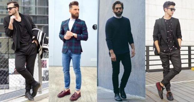 мужская мода весна лето 2019 основные тенденции: черный брючный костюм джинсы под жакет в клетку