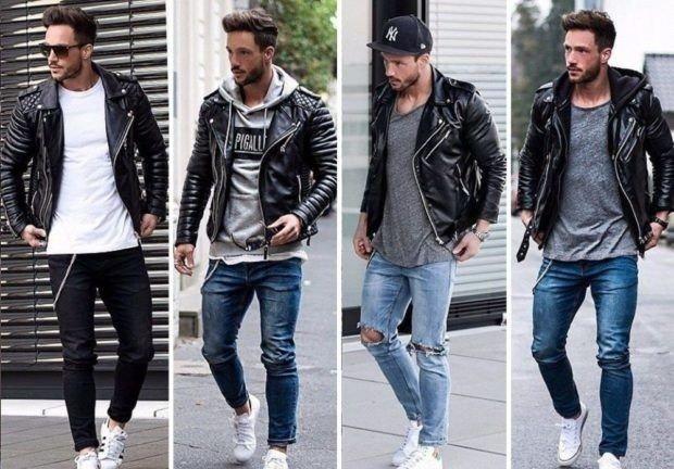 мужская мода 2021 весна лето: джинсы под кожаные куртки и толстовки