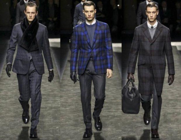 мужская мода 2019 весна лето: брючные костюмы серые в клетку