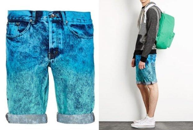 мужская мода весна лето: шорты джинсовые расцветка омбре