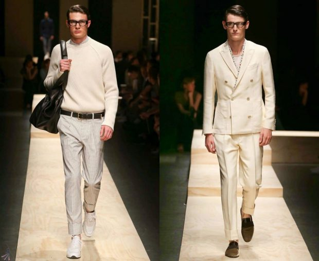 мужская мода 2020 весна лето: светлые брюки под кофту белый костюм классика