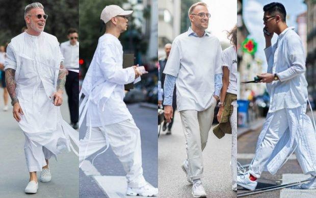 мужская мода 2020 весна лето: широкие белые брюки под широкие длинные рубашки в тон