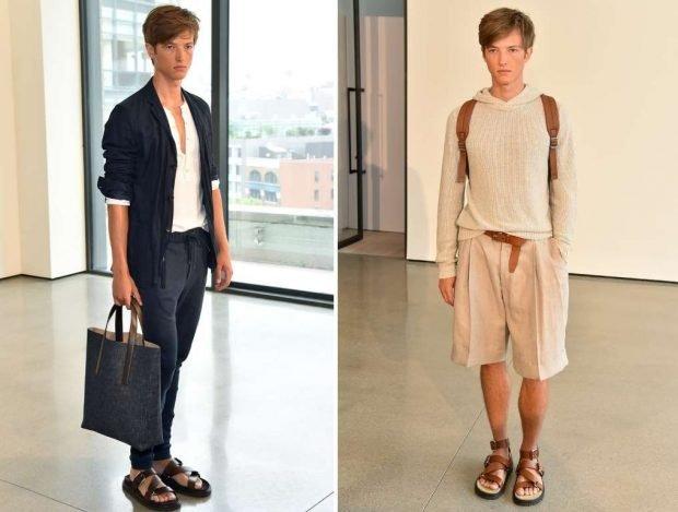 тенденции в мужской моде весна 2020: штаны черные под белую футболку и черный джемпер