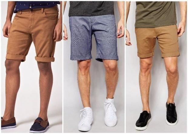 тенденции в мужской моде весна 2019: летние шорты по колено коричневые синие светло-коричневые