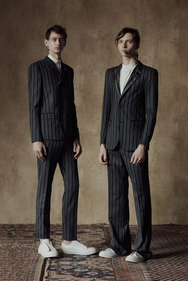 тенденции в мужской моде весна 2019: полосатые брючные костюмы