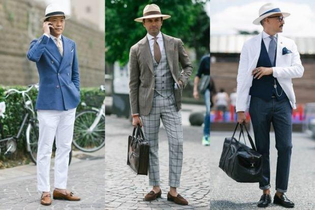 тенденции в мужской моде весна: брючные костюмы под шляпу с широкими полями
