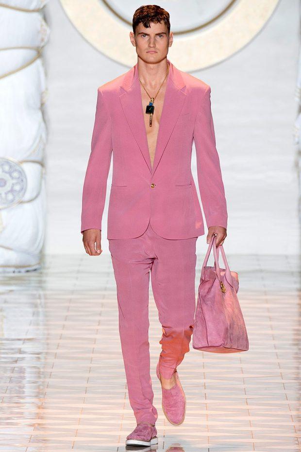 тенденции в мужской моде весна: костюм розовый брючный