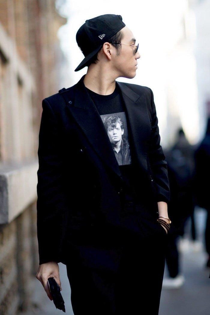 тенденции в мужской моде весна 2018: черный костюм стиль кэжуал