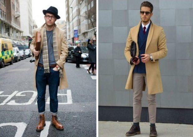 тенденции мужской моды весна лето 2019: короткие джинсы под сапоги коричневые пальто в тон