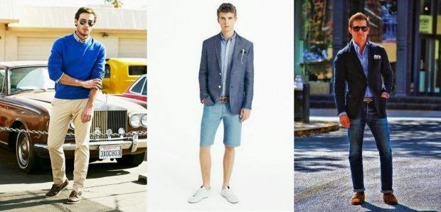 тенденции мужской моды весна лето 2019: светлые штаны под синюю кофту шорты голубые под пиджак