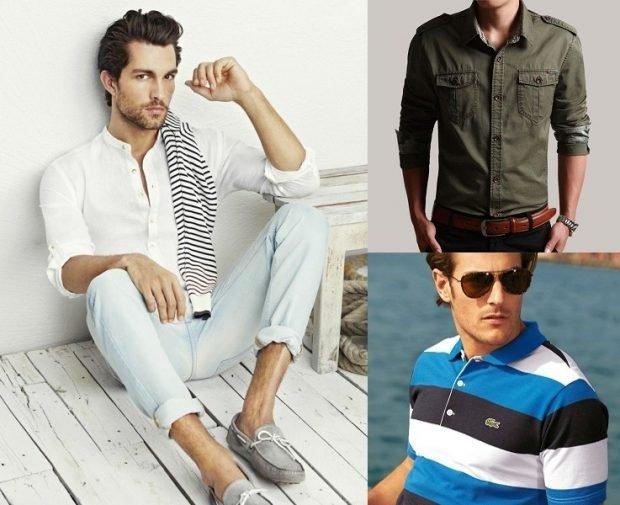 тенденции мужской моды весна лето 2019: голубые джинсы под белую рубашку и серые мокасины зеленая