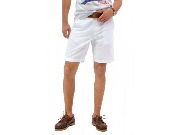 мужская мода весна лето: белые шорты брючная ткань