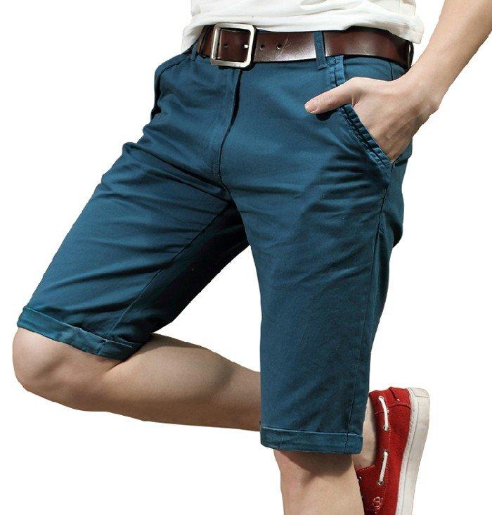 шорты синие с отворотом по колено