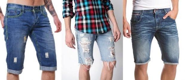 шорты джинсовые синие рваные светлые синие потертые