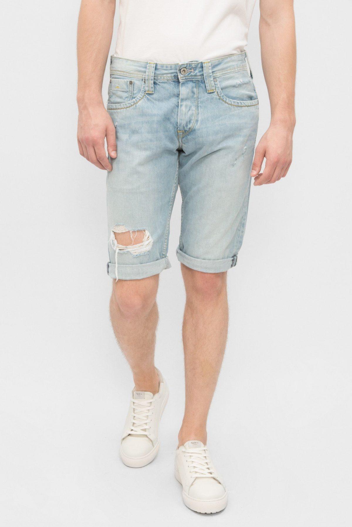 мужская мода 2018 весна лето: шорты голубые рваные