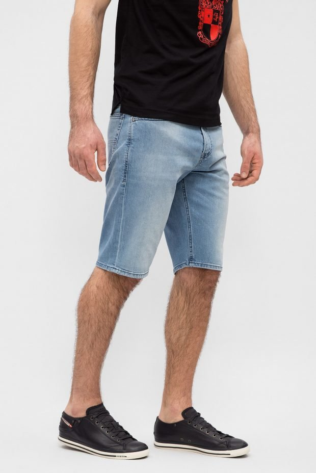мужская мода весна лето: шорты джинсовые голубые по колено