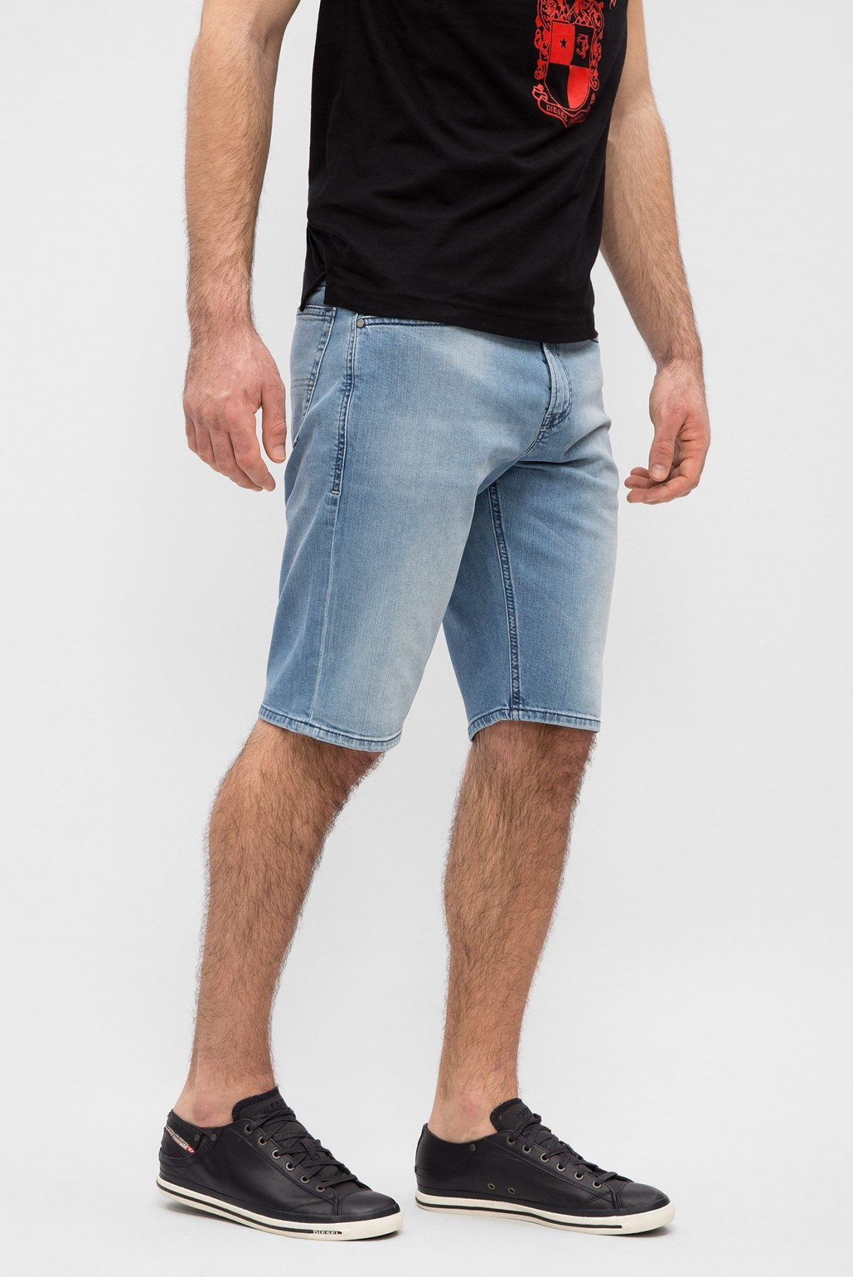 мужская мода 2018 весна лето: шорты джинсовые голубые по колено