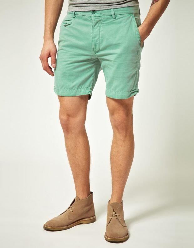 мужская мода весна лето: шорты салатовые короткие