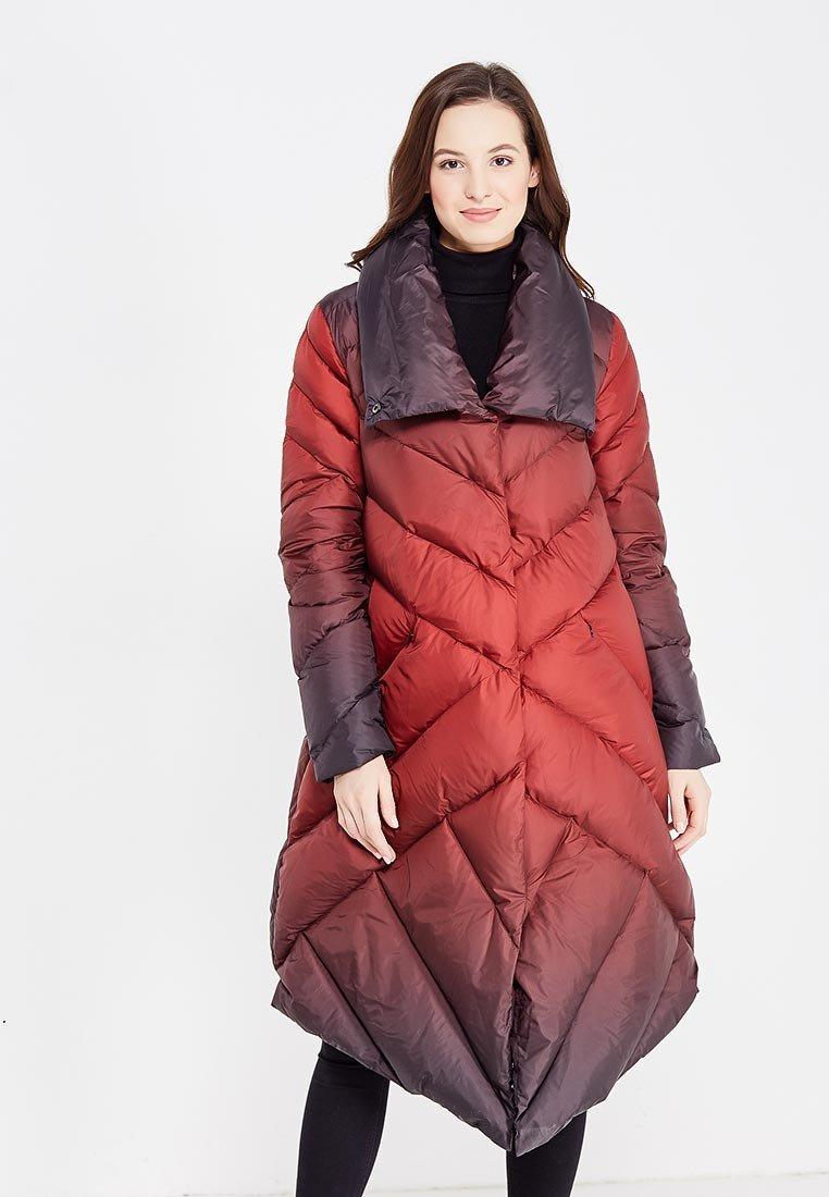 с чем носить пуховик до колена: красный асимметрия под платье