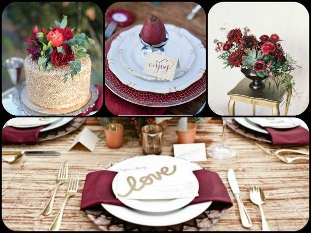свадебный декор цвет айвори и марсала