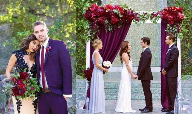 Свадьба в цвете марсала: арка декор