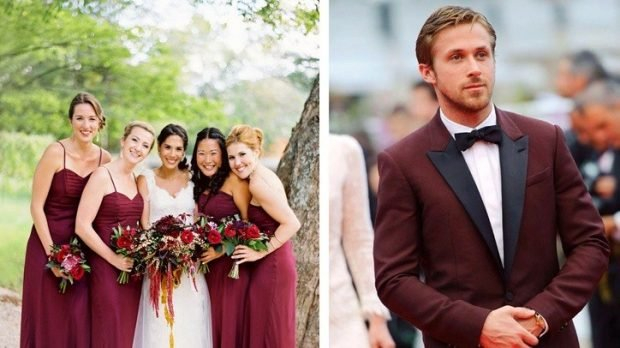 Свадьба в цвете марсала: платья