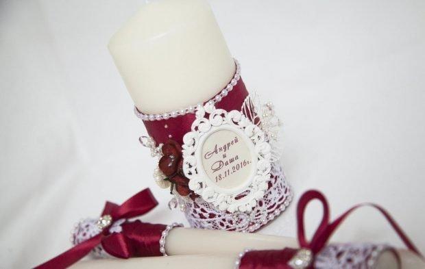 декор на свечи цвет марсала