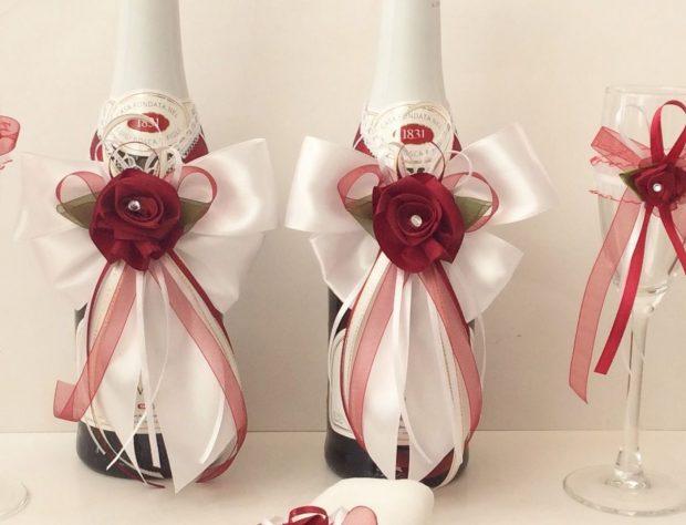 украшение на бутылки цвет марсала