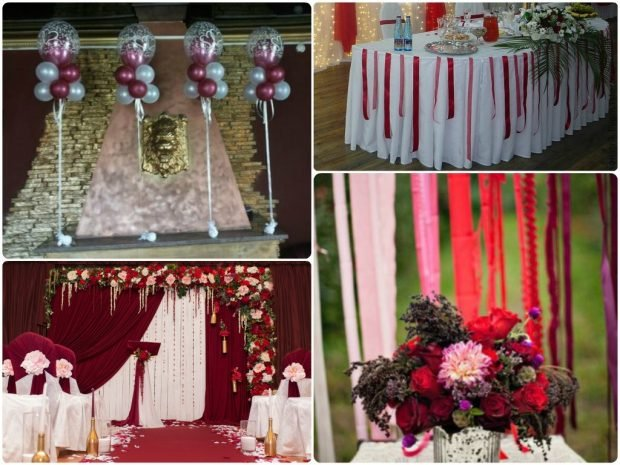 декор зала цвет марсала