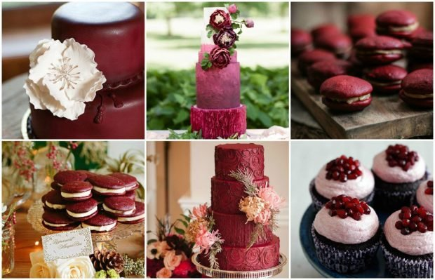свадебные торты цвет марсала