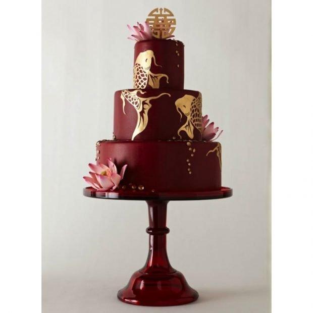 торт цвет марсала с золотом