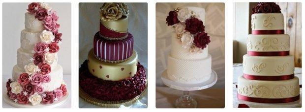 свадебные торты цвет марсала с белым
